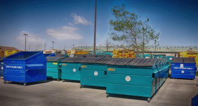 Blue and Green Commercial Bins