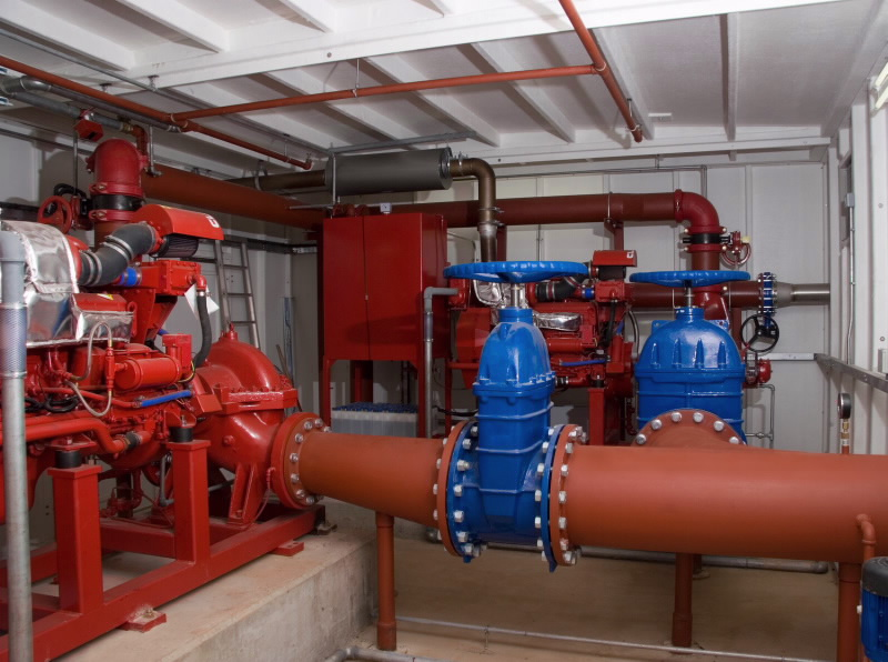 red pipes of pumping station